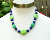 Vintage Inspired Necklace with Genuine Green Turquoise, Grey Riverstone, and Navy Blue Beads