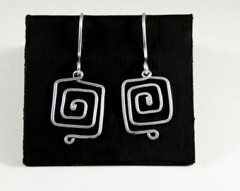 Silver Greek Key Earrings