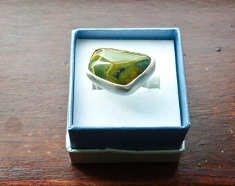Orbicular/Ocean  Jasper set into a hand made silver bezel ring