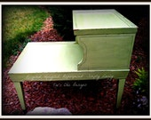 Retro Shabby Chic Vintage 2 Tiered Side Table Chalk Paint Distressed