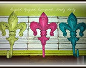 Shabby Chic Repurposed and Upcycled Crown Molding with French Cast Iron Fleur De Lis Hooks