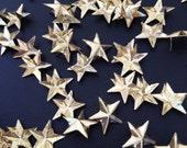 100pcs Star Stud 12mm, Spot Spikes Rivets Punk Leather - gold BRASS