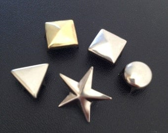 125pcs Studs, Spot Spikes Rivets Punk Leather - Pyramid Round Star Triangle- Mixed Package