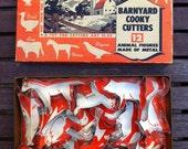 Vintage Cookie Cutters Box 12 Dozen Barnyard Animals Tin/Metal