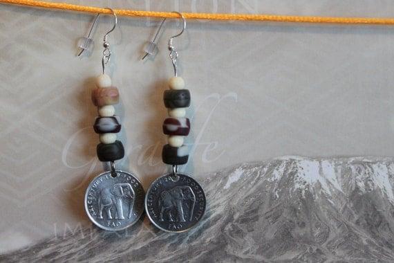 Somalia Elephant genuine  Coin Earrings, Africa, dangle, pierced ears