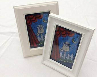 mini framed canvas - singing cat
