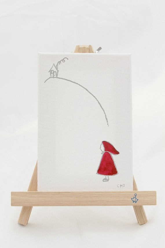 personalized original canvas art - little red riding hood
