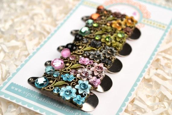 Set of 5 Sparkly Flower Rhinestone snap hair clips - Rhinestones barrette