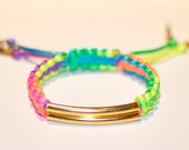 Neon Colored Gold Bar Spiked Cobra Bracelet