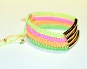 Neon Colored Gold Bar Bracelet Set