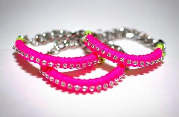 Rhinestone Wrapped Neon Rope Chain Bracelet