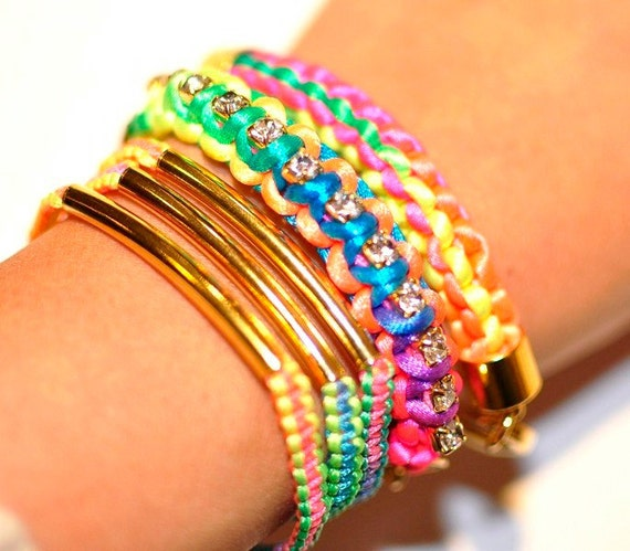 Neon Square Box Stitch and Silver Gold Curb Chain Bracelet