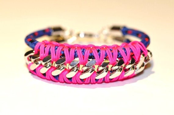 Zigzag Neon Rope and Silver Curb Chain Bracelet