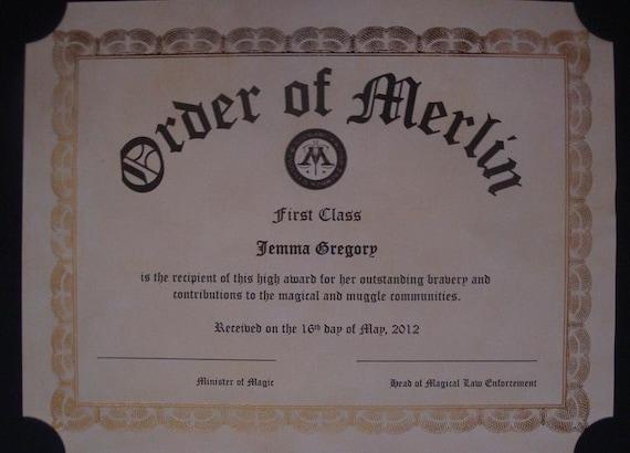 Items similar to Harry Potter Inspired Order of Merlin ...