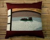 ZEN GARDEN Cushion pillow in Japanese furoshiki woodblock print. 100% heavy weight cotton. 50x50cm 20x20ins.