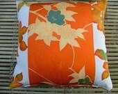 JAPANESE KIMONO all-silk cushion, two unique Japanese kimono silk fabrics in glowing colours. 40x40cm 16x16ins.
