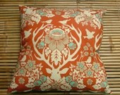 """Cotton """"Deer in the Forest"""" cushion or pillow with soft corduroy backing in turquoise blue. All handmade, 40cm square."""