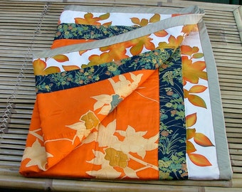 JAPANESE KIMONO Silk Quilt, recycled vintage all-silk lap size, all hand-quilted. 104x136cm or 41x54ins. OOAK, fabulous glowing colours.