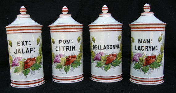 Antique French Apothecary Jars - Set of 4 - Early 1900s - Limoges - Hand Painted Porcelain