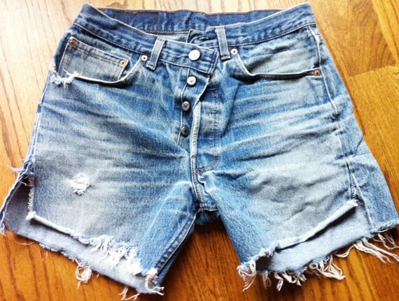 Sale---Vintage Distressed Levi 501 Cut-offs Size 32 waist (pair number 1)--marked down from 60--