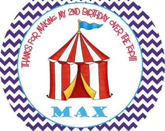 Circus Carnival Big Top Round Labels Stickers for use as Gift Tags, Party Favors, or Address Labels
