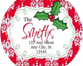 Round Christmas Stickers Address Labels,  Damask Round Labels Stickers for Christmas Cards, Address Labels, Preppy Labels