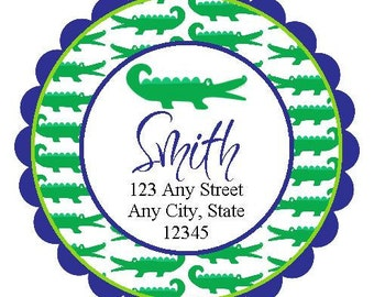 Preppy Green Gator Round Labels Stickers for Party Favors, Gift Tags, Address Labels, Preppy Labels, Children