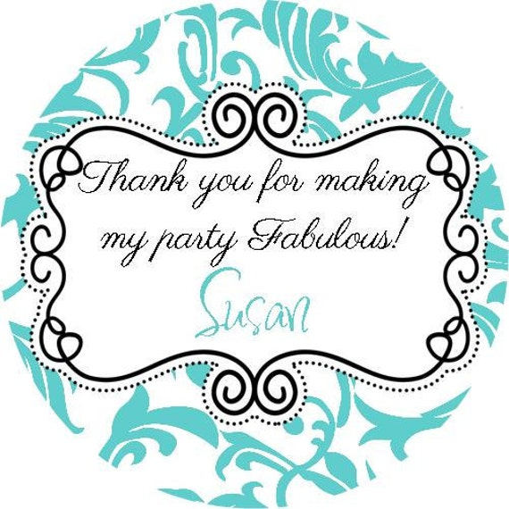 Fancy Aqua White Damask Round Labels Stickers for Party Favors, Gift Tags, Address Labels