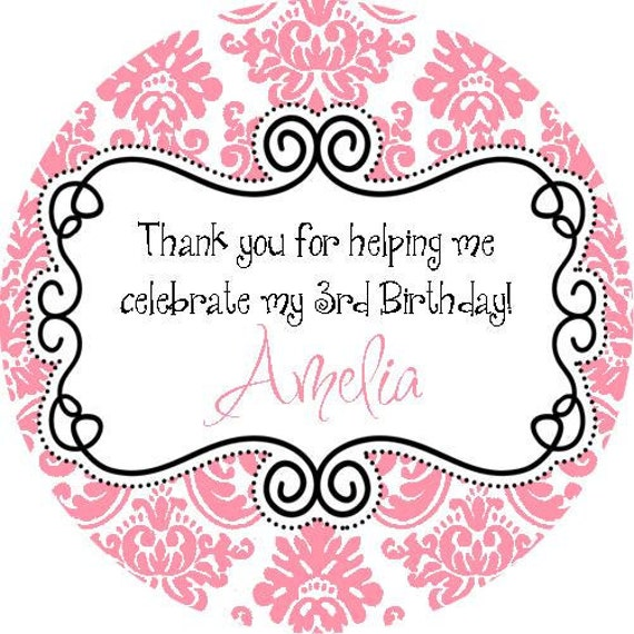 Fancy Pink White Damask Round Labels Stickers For By