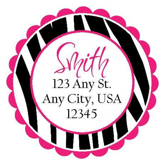 Items similar to Hot Pink Zebra Round Labels Stickers for ...