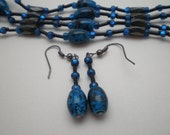 Blue and Black Oblong Magnetic Beaded Hematite Wrap Set that Comes with Earings