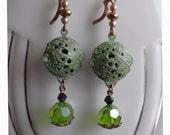 Earrings, Dangle, Verdigris Unisphere, 1964, World, Charm Repro, Green Czech Glass, Jet Swarovski Crystal Beads, Leverback Earwire, Copper