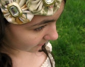 Green Elastic Headband with Patterned Flowers - for Women and Girls