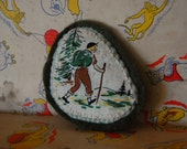 Nature Hike Girl Scout Brooch/Pin/Badge/Patch - Applique - Embroidered - Wool Felt - 1940s Vintage Style - Green - Forest