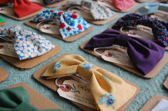 Made-To-Order Hair Bow with French Barrette - Choose from 36 vintage fabric options.