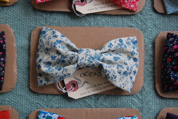 Tea Party Floral Bow-Tie Hair Clip - Large Summer Bow - China Blue, Rose, Blossom, and Butterfly Pattern - Barrette - For Child or Adult