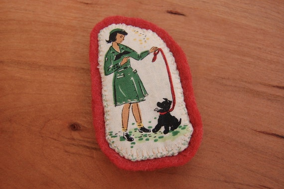 Friend to Animals Girl Scout Brooch/Pin/Badge/Patch - Applique - Embroidered - Red Wool Felt - 1940s Vintage Style - Black Dog - Autumn Fall