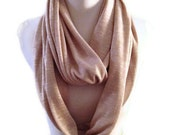 Long Infinity Scarf in super soft, stretchy light camel shade.