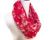 Pink Island Print Infinity Scarf. Pink and Ivory. Beautiful spring Accessory,