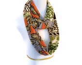 Extra long Tribal Print Infinity Scarf. Brown, Orange, Green, Ivory and Tan. Soft Jersey blend