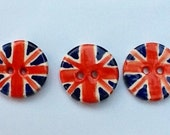 Britsh union jack handmade pottery buttons