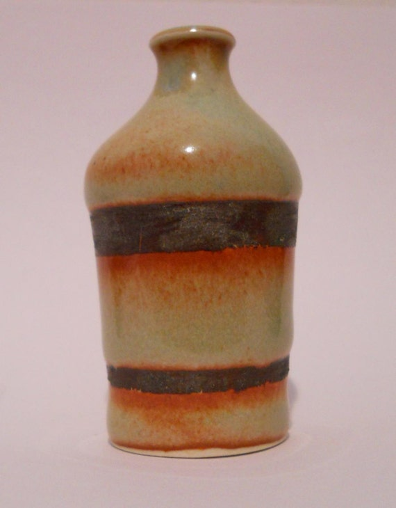 Miniature Green and Brown Bottle