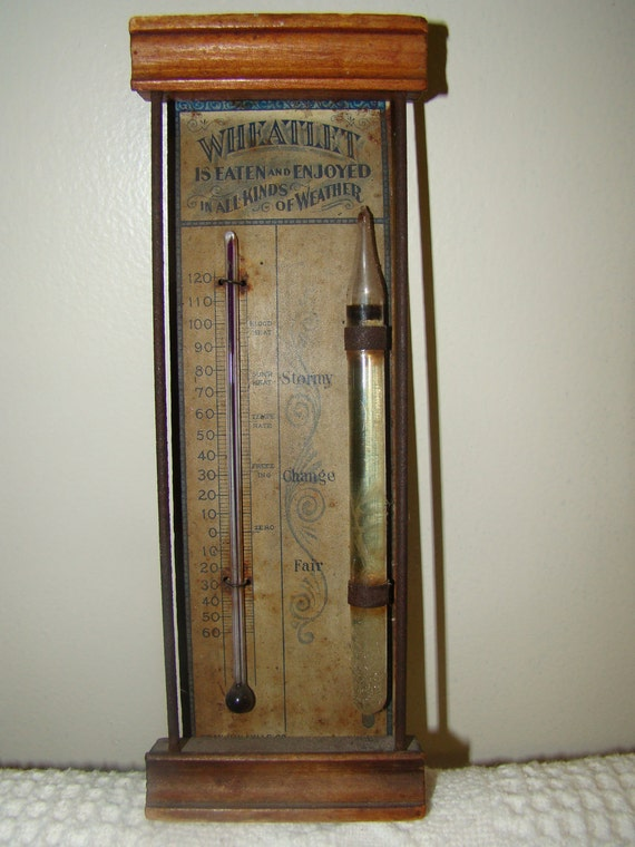 reserved for Marjorie  1890's Wheatlet cereal advertising thermometer and barometer