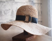 Straw floppy sun hat with black grosgrain ribbon and bronze closure - AmyLehfeldt