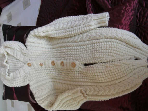 Baby Snowsuit to fit 0-6 month, Hand Knitted All In One with Hood