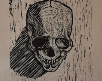 Hand-Pulled Woodcut Skull no. 8