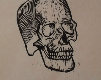 Hand-Pulled Woodcut Skull no. 6