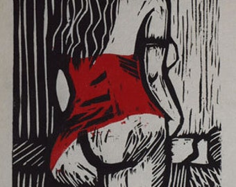 Hand-Pulled Woodcut Red Flirt no. 1