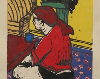 Hand-Pulled Woodcut Sitting