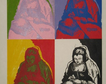 Hand-Pulled Woodcut Needlewoman x 4 (After Velazquez and Warhol)